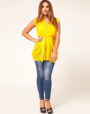 Image 4 ofASOS CURVE Exclusive Belted Wrap Top