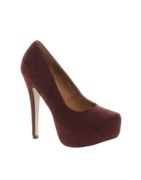 Image 1 ofNew Look Structure Burgundy Platform Court Shoes