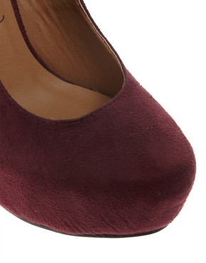 Image 4 ofNew Look Structure Burgundy Platform Court Shoes