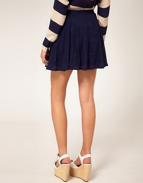 Image 2 ofRiver Island Navy Lace Skater Skirt