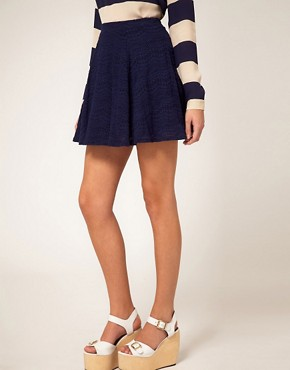 Image 4 ofRiver Island Navy Lace Skater Skirt