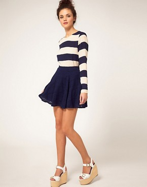 Image 1 ofRiver Island Navy Lace Skater Skirt