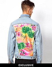 Reclaimed Vintage Denim Jacket with Hawaiian Panels