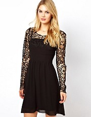 Vila Lace Panel Skater Dress
