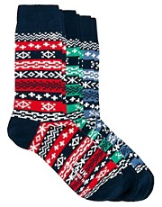 French Connection &ndash; Mona &ndash; Socken mit Norwegermuster im 3er-Pack