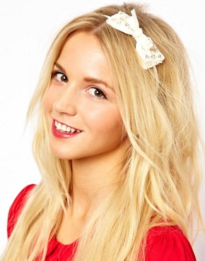 Image 1 ofJohnny Loves Rosie Cream Bow Headband