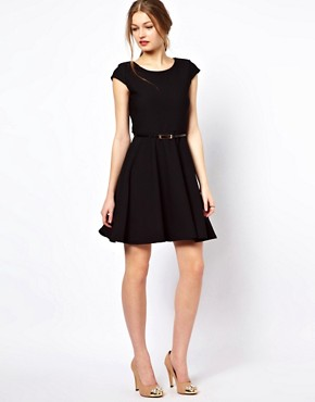 Image 4 ofA Wear Textured Skater Dress With Belt