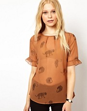Sugarhill Boutique Frill Sleeve Blouse in Leopard Print
