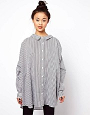ASOS Oversize Smock Shirt In Pinstripe