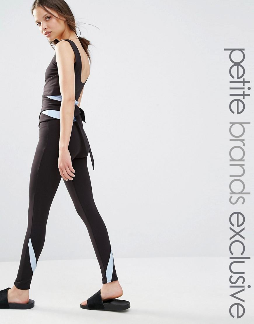 Product photo of Quontum petite contrast legging with tie waist black blue