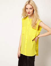 Equipment Skylar Sleeveless Shirt in Silk with Raw Edging