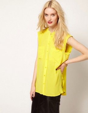 Image 1 ofEquipment Skylar Sleeveless Shirt in Silk with Raw Edging