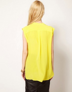 Image 2 ofEquipment Skylar Sleeveless Shirt in Silk with Raw Edging