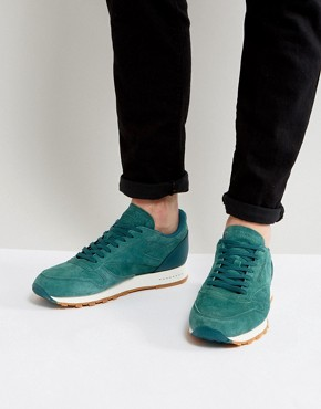 Reebok Classic Leather Gum Sole Trainers In Green BD6014