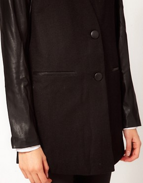 Image 3 ofJust Female Leather Sleeve Coat