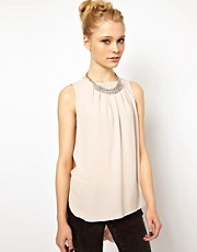 River Island Drape Back Top With Necklace