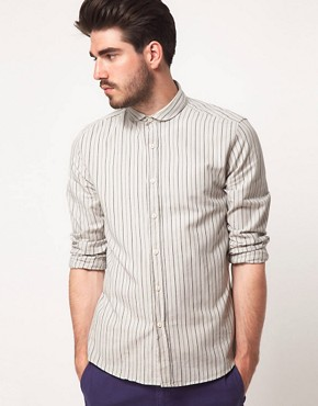 Image 1 ofASOS Stripe Shirt with Curved Collar