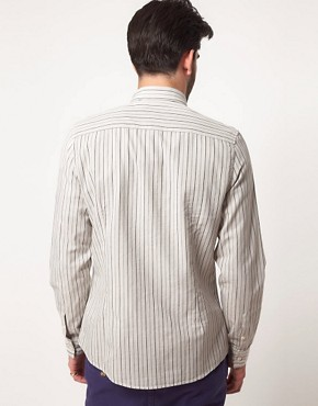 Image 2 ofASOS Stripe Shirt with Curved Collar