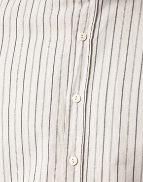 Image 3 ofASOS Stripe Shirt with Curved Collar