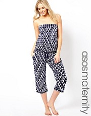 ASOS Maternity Jersey Beach Jumpsuit In Seahorse Print