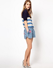 Markus Lupfer Denim Embroidered Shorts