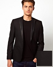 ASOS - Blazer slim fit con rever in PU