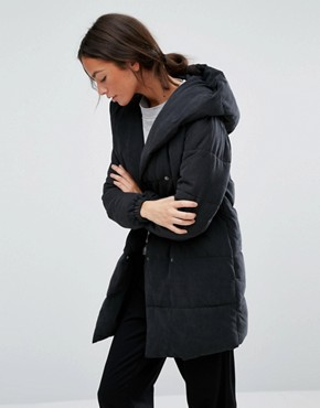 New Look Padded Wrap Over Coat