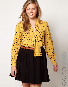 Image 1 ofASOS CURVE Exclusive Pussybow Shirt In Heart Print