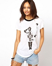 Neal Murren for ASOS T-Shirt with Elastic Hem and Knight Print