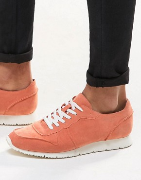 ASOS Retro Trainers in Relaxed Pink Faux Suede