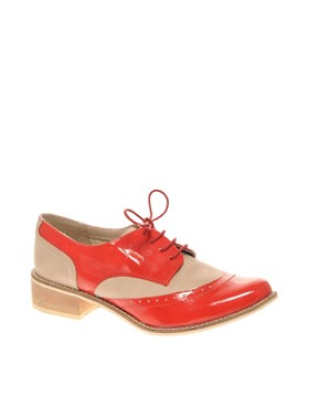 Image 1 of ASOS MAURICE Leather and Patent Lace Up Brogue