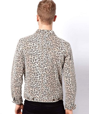 Image 2 ofASOS Denim Jacket With Leopard Print