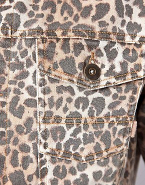 Image 3 ofASOS Denim Jacket With Leopard Print