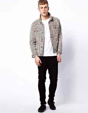 Image 4 ofASOS Denim Jacket With Leopard Print