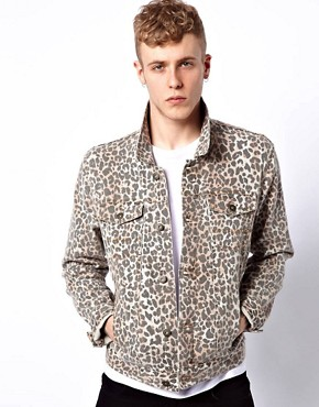 Image 1 ofASOS Denim Jacket With Leopard Print