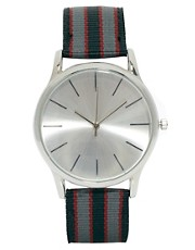 ASOS Watch with Stripe Canvas Strap