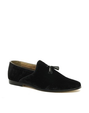 Image 1 ofASOS Velvet Tassel Loafers With Leather Sole