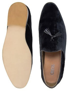 Image 4 ofASOS Velvet Tassel Loafers With Leather Sole