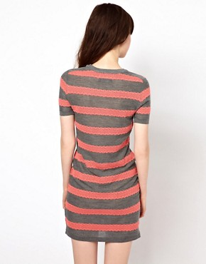 Image 2 ofMarkus Lupfer Lace Stripe Knitted Dress