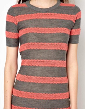 Image 3 ofMarkus Lupfer Lace Stripe Knitted Dress