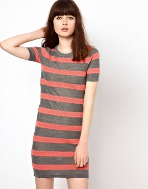 Image 1 ofMarkus Lupfer Lace Stripe Knitted Dress