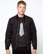 Barneys Originals Leather Jacket Zip Detail