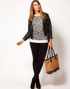 Image 4 ofASOS CURVE Sweatshirt In Cheetah Print