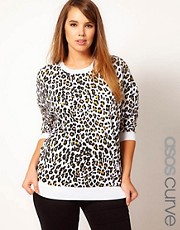 ASOS CURVE Sweatshirt In Cheetah Print