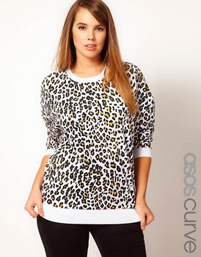 Image 1 ofASOS CURVE Sweatshirt In Cheetah Print