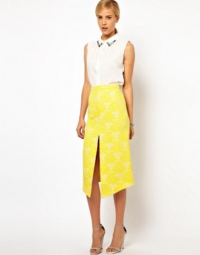 Image 1 ofASOS Pencil Skirt in Rose Jacquard