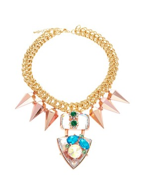 Image 1 ofASOS Jewelled Punk Spike Necklace