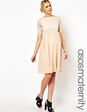 ASOS Maternity Midi Skater Dress In Lace And Chiffon