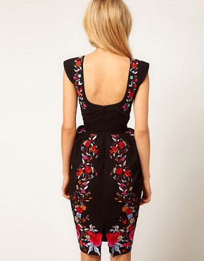 Image 2 ofASOS Wiggle Dress With Exaggerated Hips And Embroidery