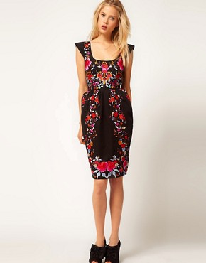 Image 4 ofASOS Wiggle Dress With Exaggerated Hips And Embroidery